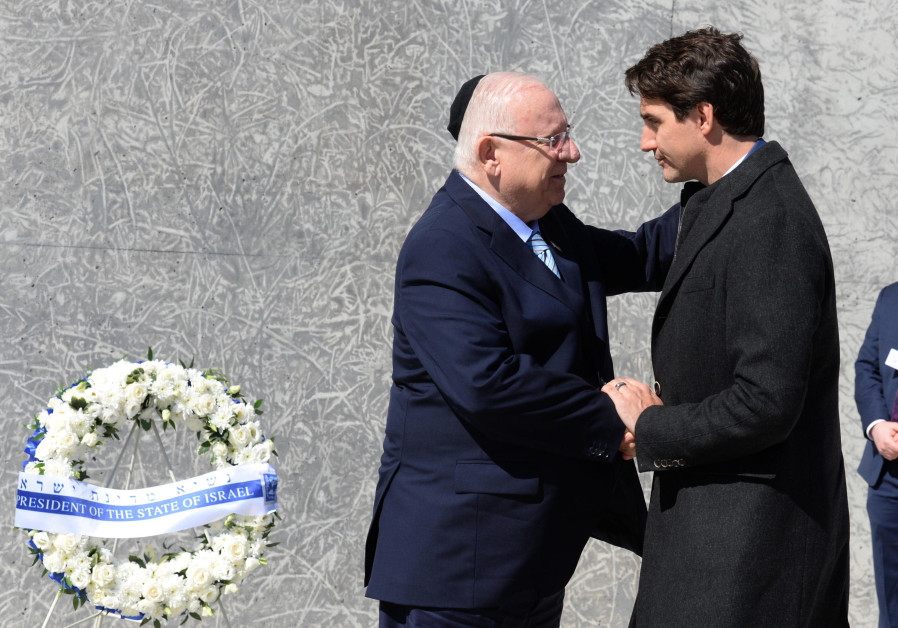 President Rivlin laid a wreath at the Holocaust memorial in Ottawa, accompanied by Prime Minister Tr