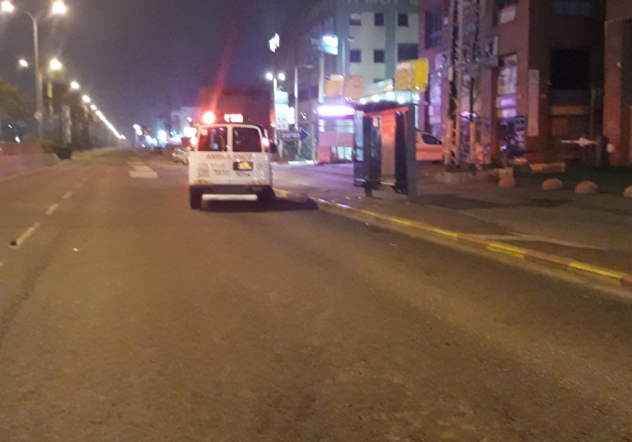 MDA ambulance arrives at the scene where a man was hit by a car in Haifa