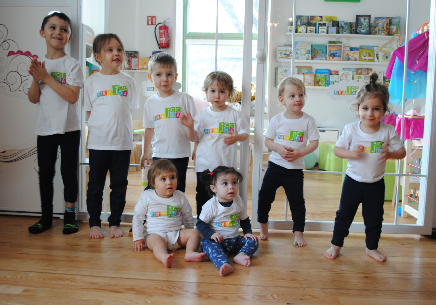 TODDLERS IN their Krakow JCC T-shirts, in the city's first Jewish preschool since the Holocaust, which opened two years ago. (Courtesy)