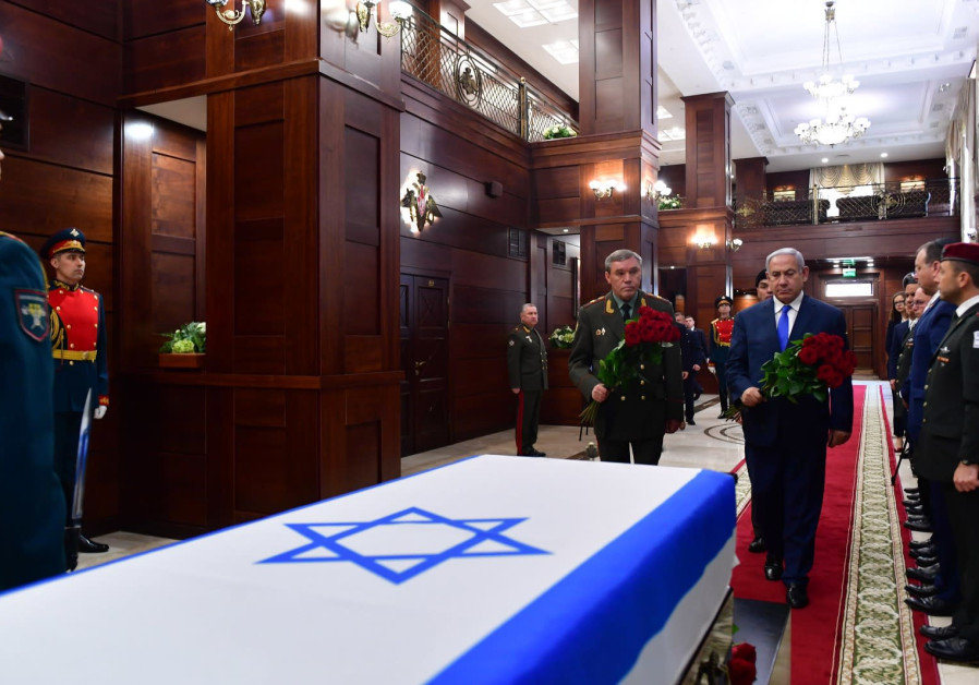 Prime Minister Benjamin Netanyahu met with the Russian Army chief of staff at the ceremony of transferring the coffin of the missing Zacharia Baumel to Israel in Moscow, Russia on April 4th, 2019 (Credit: Kobi Gideon/GPO)