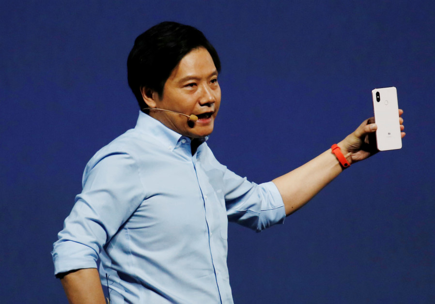 Xiaomi founder Lei Jun introduces the flagship Mi 8 during a product launch in Shenzhen, China, 2018