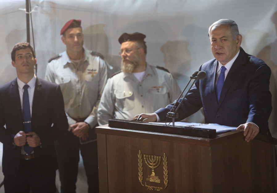 Prime Minister Benjamin Netanyahu eulogizes at the funeral of Zachary Baumel, 2019.