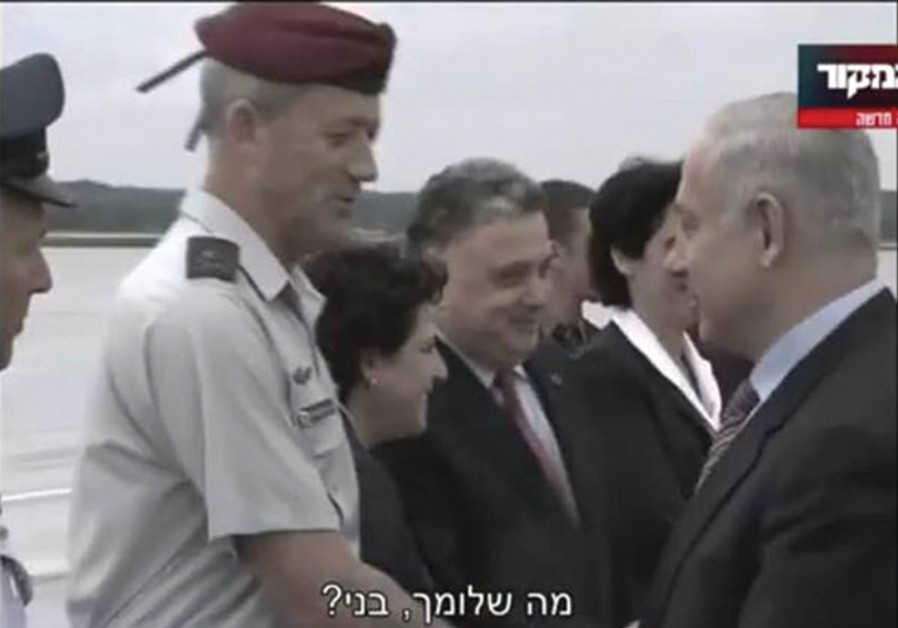 IN FRIENDLIER times during a visit to Washington, Prime Minister Benjamin Netanyahu with Benny Gantz