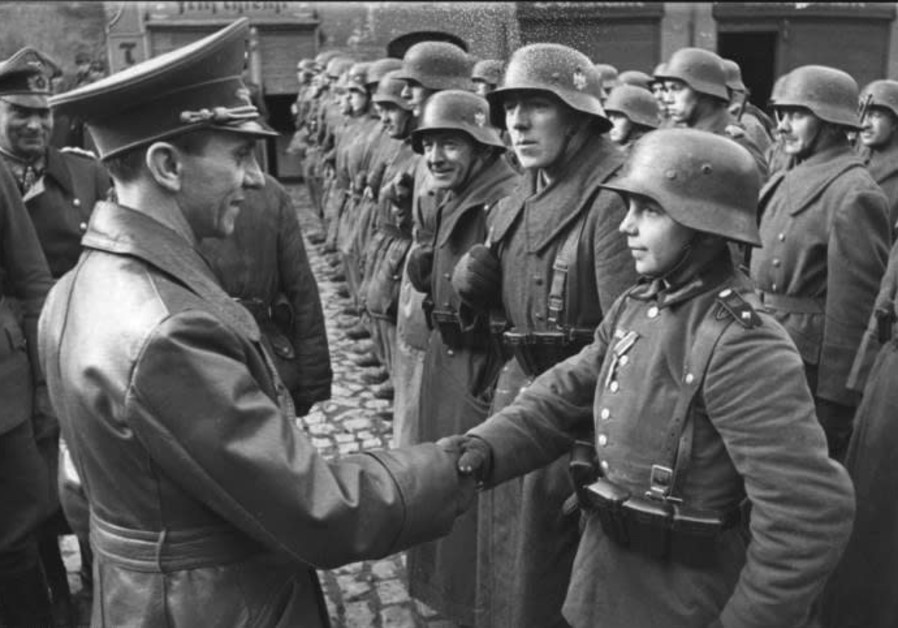 9 March 1945: Goebbels awards a 16-year-old Hitler Youth, Willi Hübner, the Iron Cross