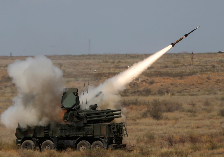 A Pantsir-S surface-to-air missile system fires a missile during the Keys to the Sky competition