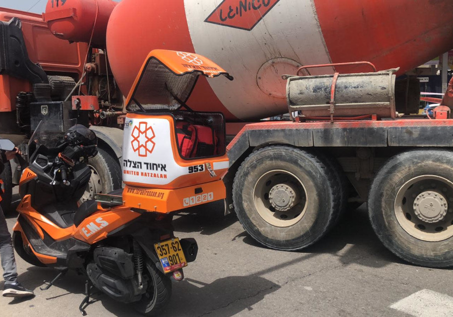 Cement mixer hits a 70-year-old woman.