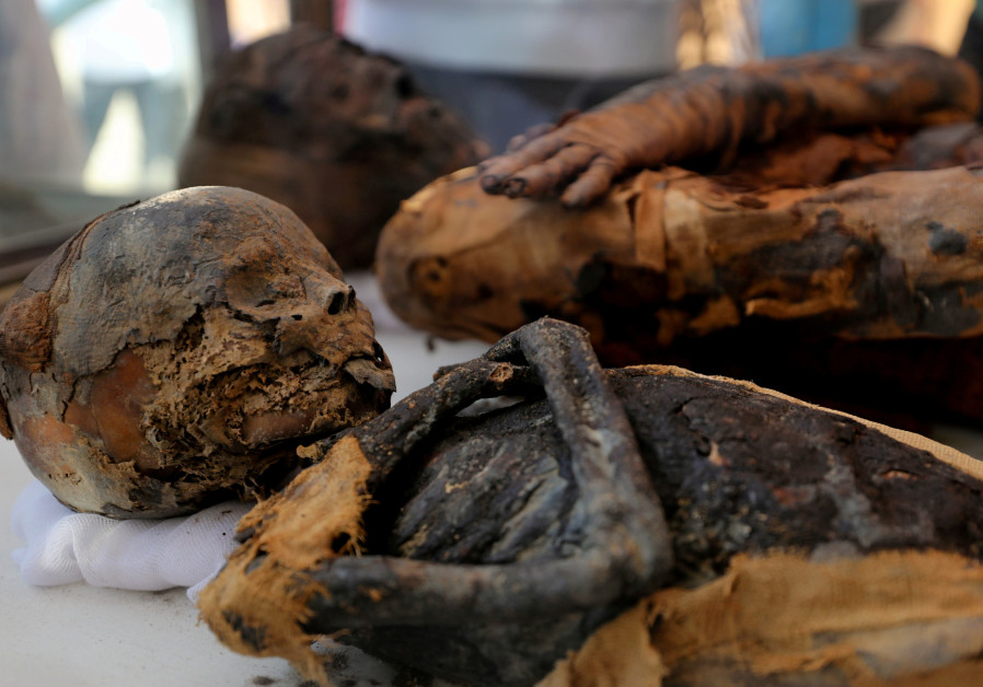 Two mummies, of a woman and child, are on display  at al-Dayabat, Sohag, Egypt April 5, 2019