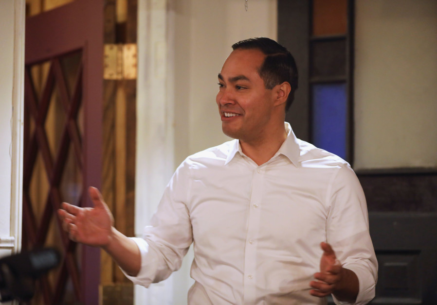 U.S. 2020 Democratic presidential candidate Julian Castro speaks during a campaign stop at The Liver