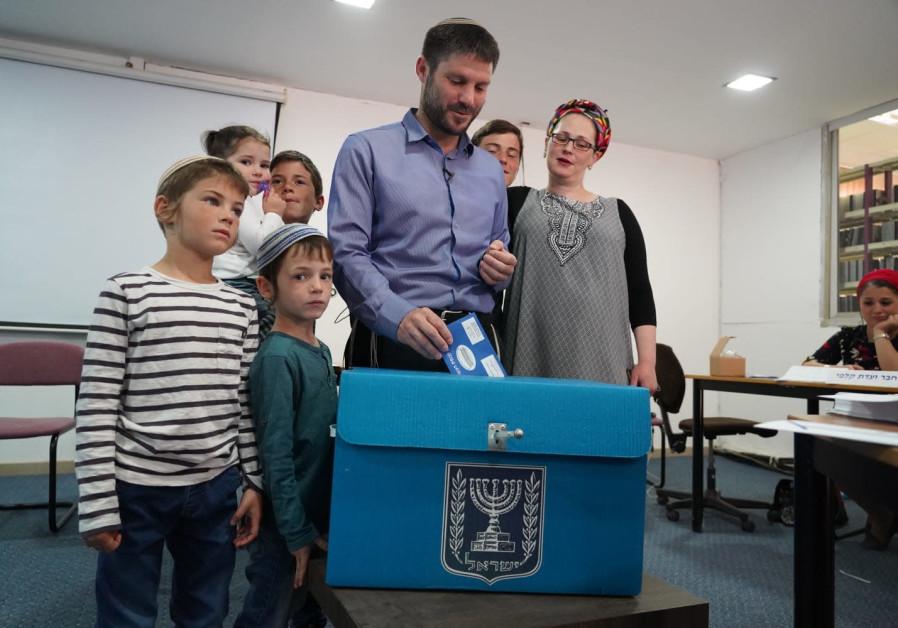 Betzalel Smutrich voting in Kedumim
