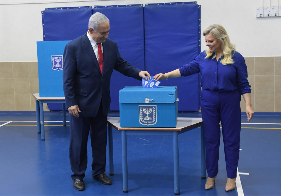 Prime Minister Benjamin Netanyahu and his wife Sara vote in Israel's elections on April 9, 2019