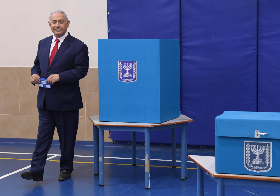 Prime Minister Benjamin Netanyahu voting at the elections