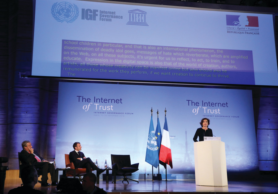 UNESCO CHIEF Audrey Azoulay speaks at the Internet Governance Forum at UNESCO HQ