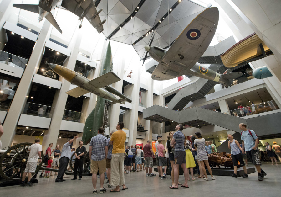VISITORS LOOK at the V-1 flying bomb, which will be integrated into the new Holocaust galleries