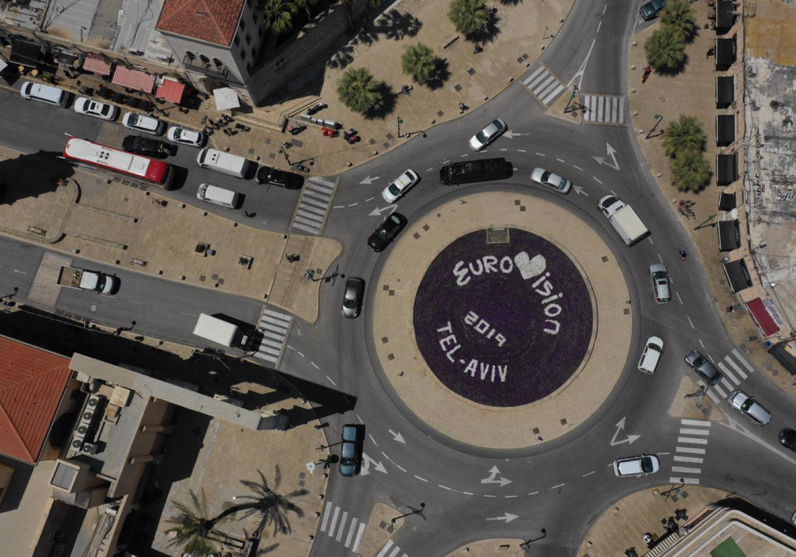 FLOWERS PLANTED at Jaffa's Clock Square ahead of the Eurovision