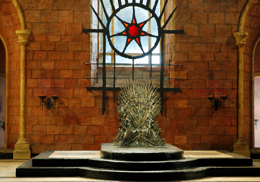 The Iron Throne is seen on the set of the television series Game of Thrones in the Titanic Quarter o