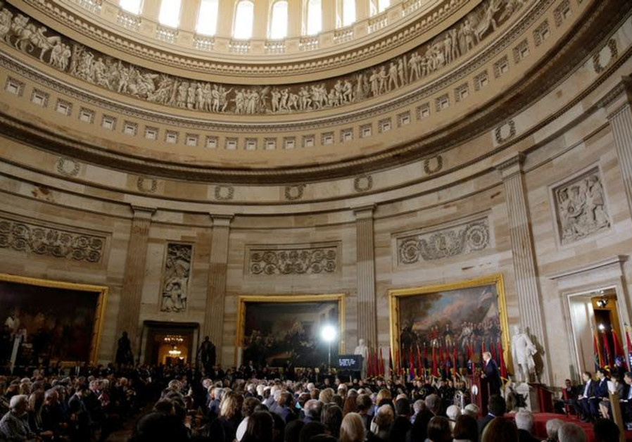 U.S. President Donald Trump delivers the keynote address at the U.S. Holocaust Memorial Museum