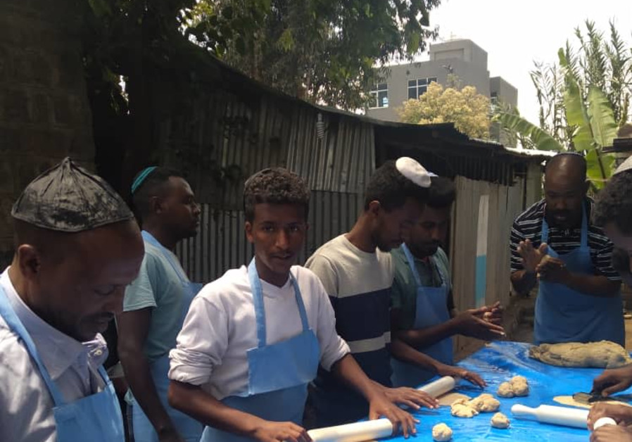 Ethiopian youth prepare the Seder in Gondar, Ethiopia. (Jewish Agency)
