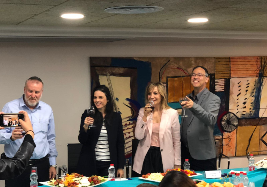 Ayelet Shaked raises a toast to Justice Ministry workers before Passover on April 17th, 2019