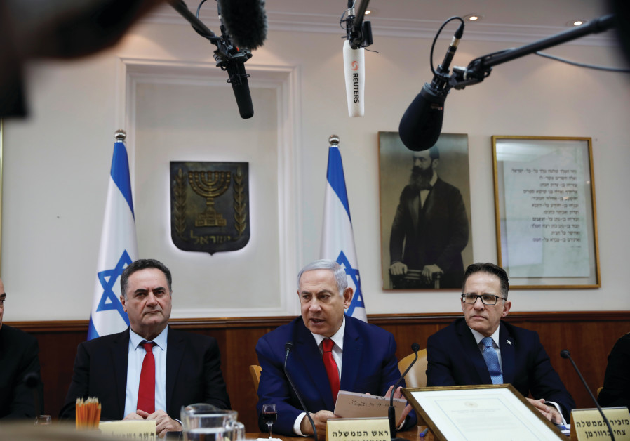 STILL IN power. Prime Minister Benjamin Netanyahu at a recent cabinet meeting