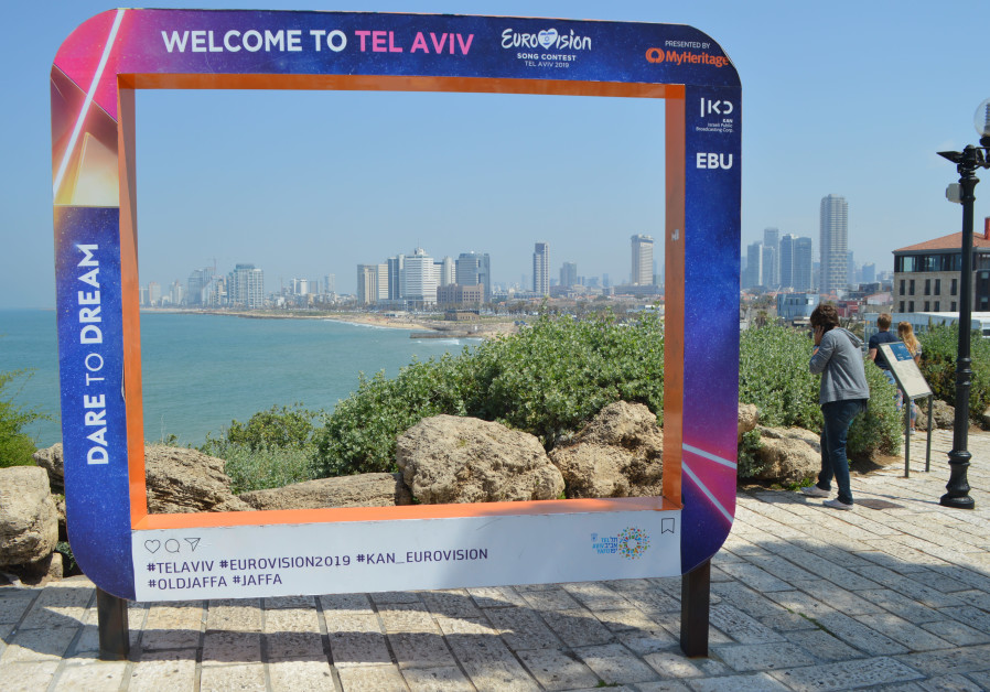 A Eurovision-themed photo frame stationed in Tel Aviv