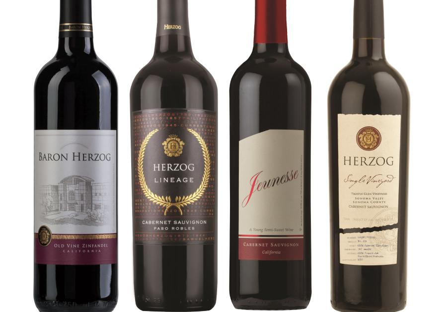 Herzog Winery's four main labels: Beron Herzog, Lineage, Jeunesse and Herzog (Courtesy)