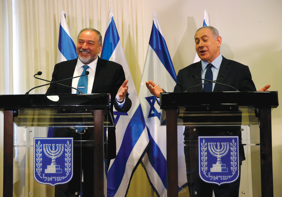 WILL THEY laugh again in a few weeks? Prime Minister Benjamin Netanyahu and Avigdor Liberman