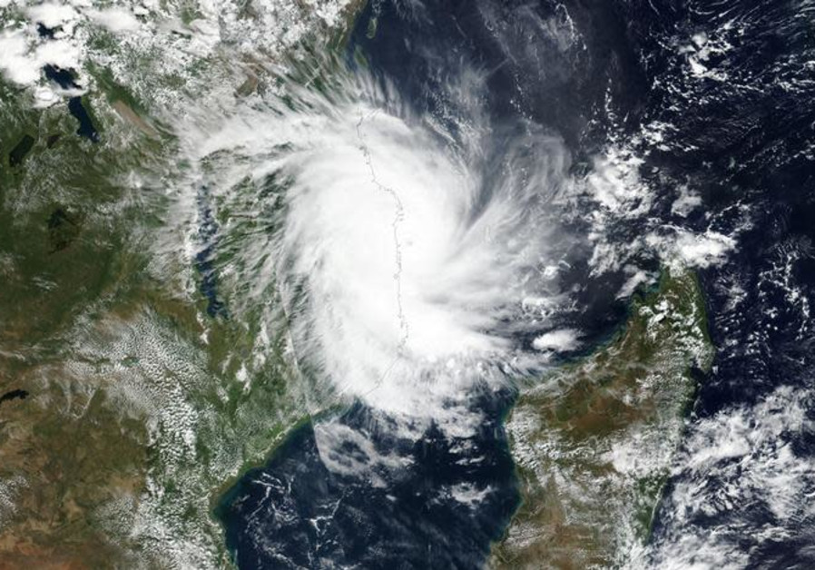 Tropical Cyclone Kenneth approaches the coast of Mozambique