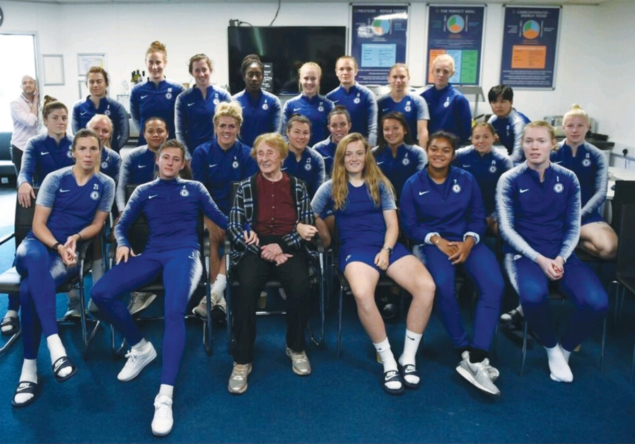 THE CHELSEA Football Club Women players and Susan Pollack (center)