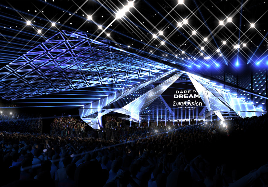 An illustrated projection of the Eurovision 2019 stage in Tel Aviv
