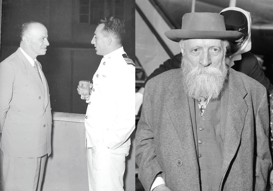 (Right) 'EIGHT hundred to 1,000 Jews got out of Morocco because of their philosophy talks about [Martin] Buber (pictured)!'  FAMED POLITICIAN Eliyahu Sasson (left) chats with Navy Commander Aluf Shlomo Harel, 1962