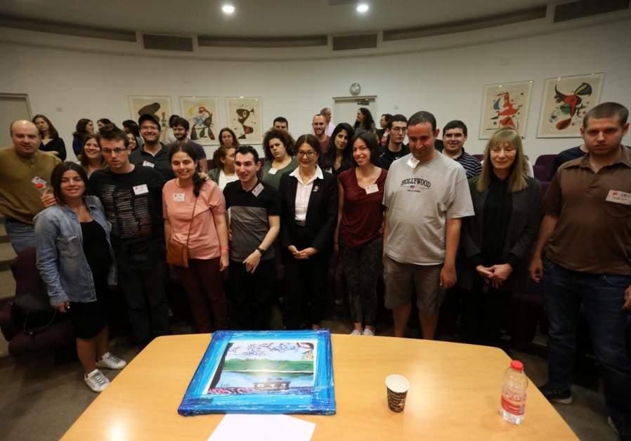 Supreme Court Esther Hayut meets with participants in the ALUT - The Israeli Society for Autistic Children employment program April 30, 2019. Credit: Sasson Tiram