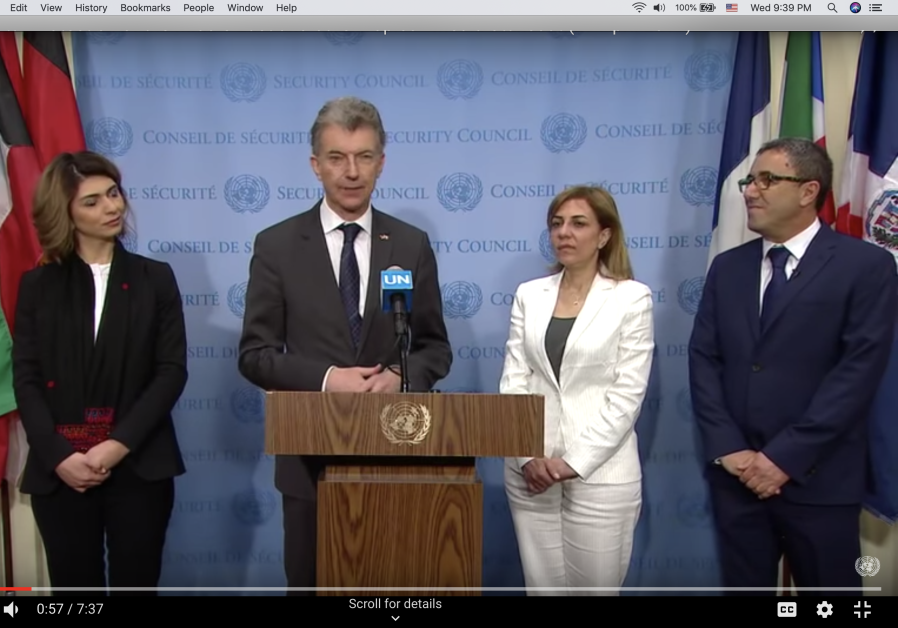 EcoPeace co-directors and EcoPeace Middle East co-director with German Ambassador Heusgen at UNSC