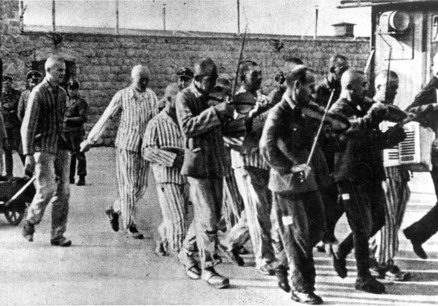 An orchestra accompanies prisoners before their execution,