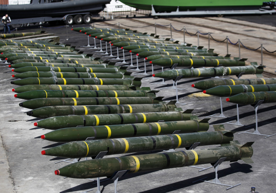 M302 rockets found aboard the Klos C ship are displayed at an Israeli navy base in the Red Sea resor