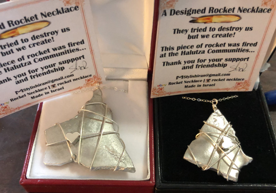 Necklaces made from rocket shrapnel by Yedidya and Shiran Harush