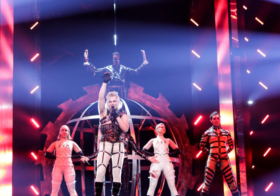 Iceland's Hatari takes the stage in Tel Aviv on Sunday for its first Eurovision rehearsal.