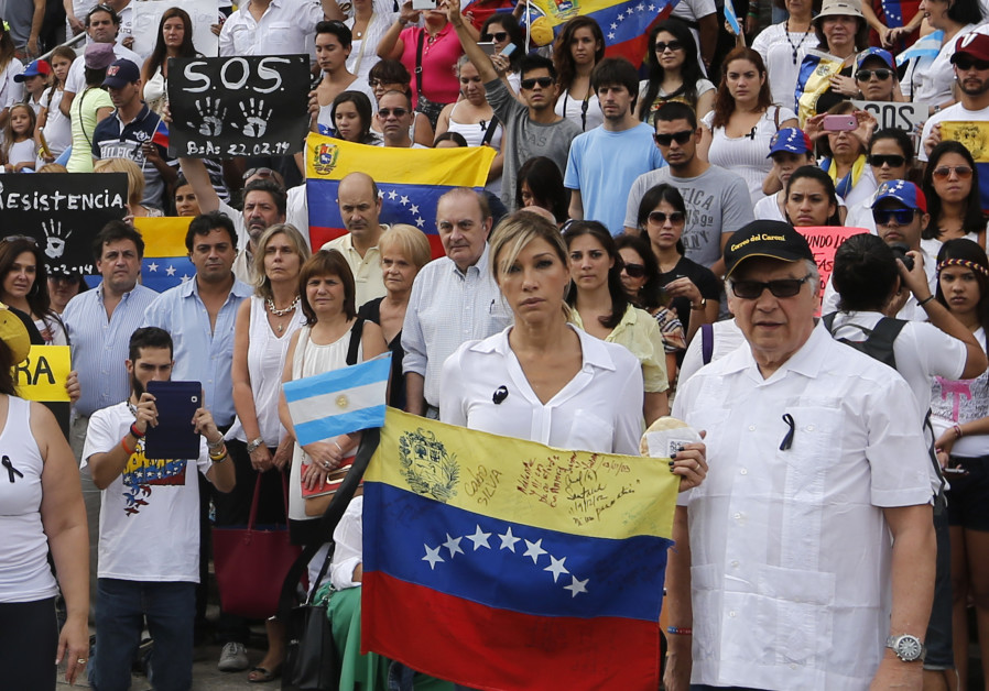 Venezuelan actress Catherine Fulop takes part of a rally against Venezuela President Nicolas Maduro.