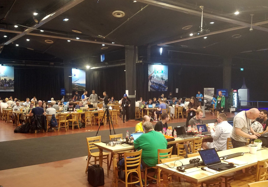 International media seated in the Eurovision press room at the Expo Tel Aviv on Monday.