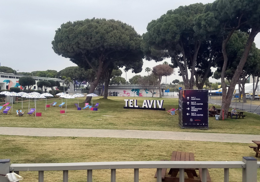 Photo of the lawn at the site of the upcoming Eurovision at the Expo Tel Aviv conference center. (Credit: Amy Spiro)