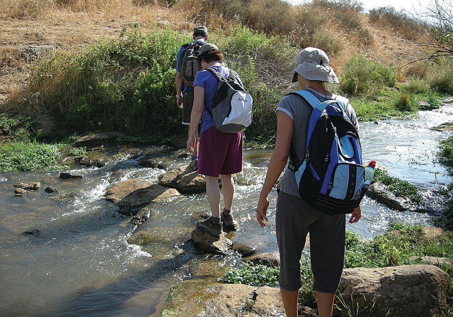 Israelis hiking in the North