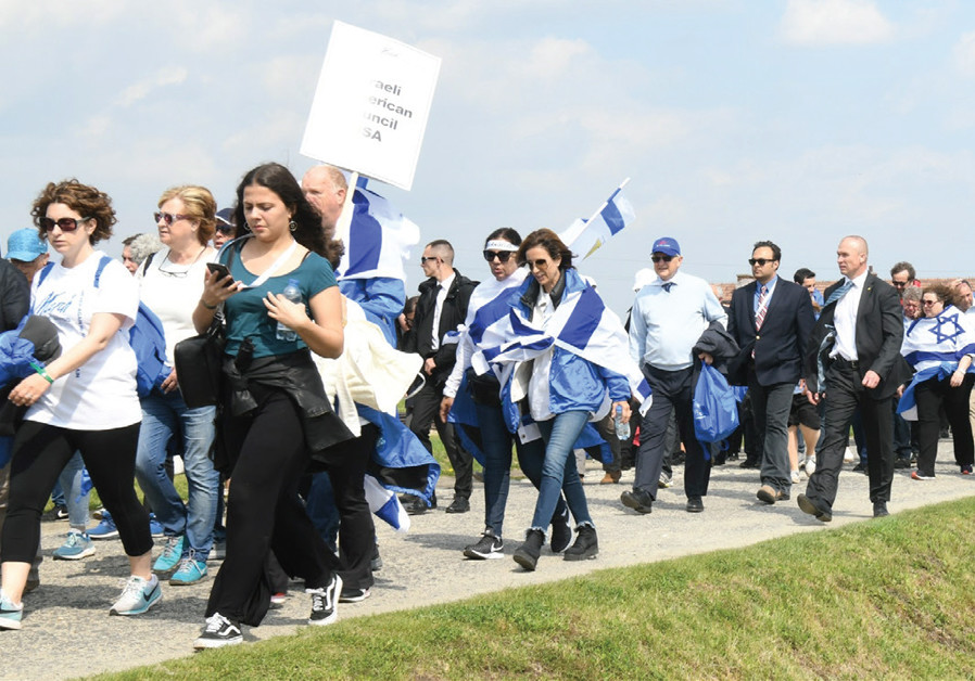 PARTICIPANTS ENTERING Birkenau in The March of the Living. (credit: YOSSI ZELIGER)