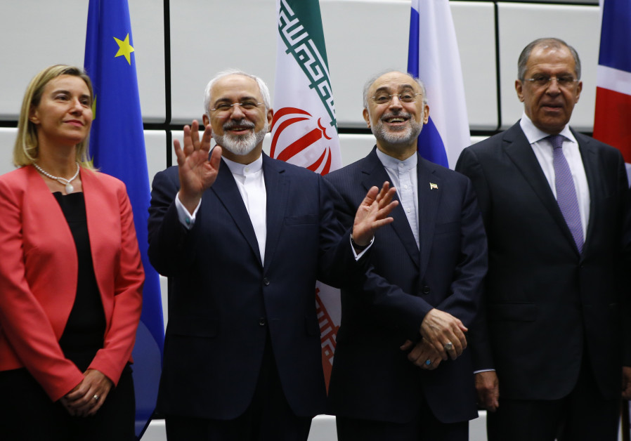 Iran FM Zarif, EU Foreign Affairs Rep. Mogherini, and Iranian and Russian officials in Vienna 2015