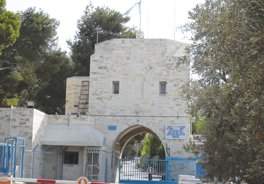 THE GOVERNMENT HOUSE, atop the ridge of Jebl Mukaber, in southeastern Jerusalem.