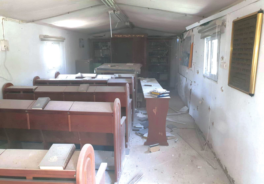THE DAMAGED Synagogue at the Kissufim IDF base in the South