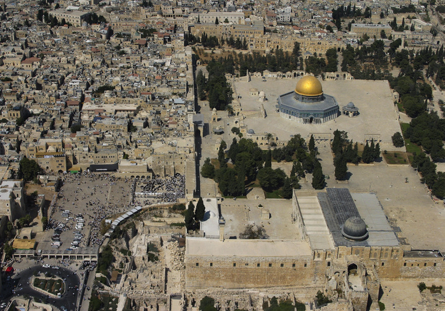 A view of the Temple Mount from the air. (Credit: GALI TIBBON)