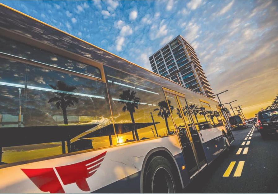 A bus travels along Hayarkon Street, Tel Aviv