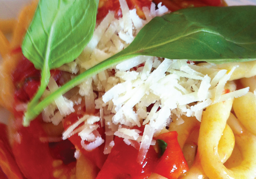 PICI PASTA WITH CHERRY TOMATOES AND HERBS (Credit: CHAGIT GOREN DROR KATZ AND PASCALE PEREZ-RUBIN)