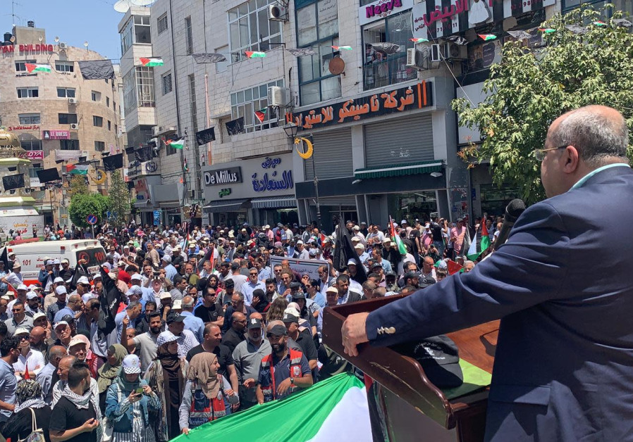 MK Ahmed Tibi at a Nakba Day rally in Ramallah, May 15, 2019