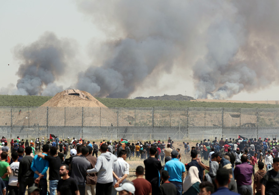 Fires near the Gaza border seen in background of Nakba Day protests 2019