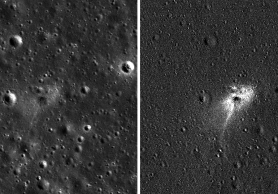 Left: Beresheet impact site. Right: An image processed to highlight changes near the landing site